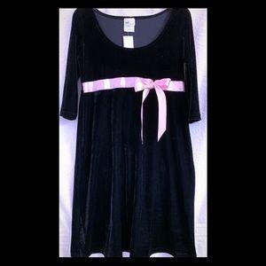 Sel Poivre Black Velvet Long Sleeve Dress Women S
